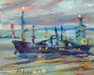 Schiff in der Dämmerung, 2019